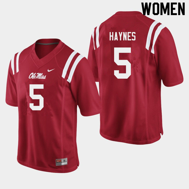 Women #5 Jon Haynes Ole Miss Rebels College Football Jerseys Sale-Red